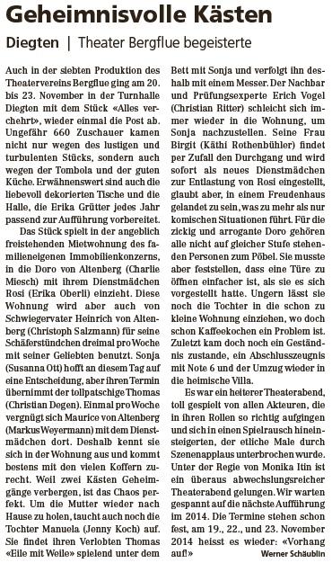 Pressebericht Volksstimme November 2013